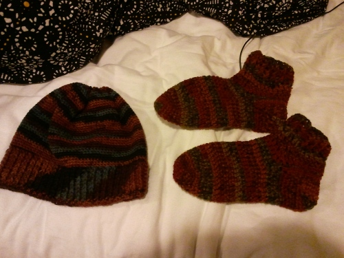 Socks for my Great Aunt, and a hat for my Great Uncle.